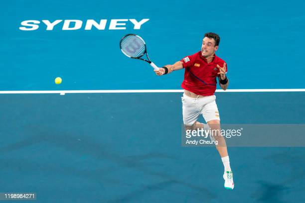 Roberto Bautista Agut of Spain plays a forehand during his final singles match Dusan Lajović of Serbia during day 10 of the ATP Cup at Ken Rosewall...