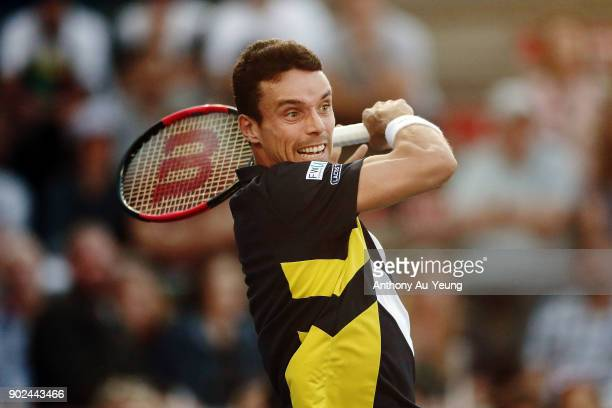 Roberto Bautista Agut of Spain plays a forehand in his first round match against Michael Venus of New Zealand during day one of the ASB Men's Classic...