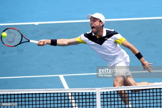 Roberto Bautista Agut of Spain plays a forehand in his quarterfinal match against Jiri Vesely of the Czech Republic during day four of the ASB Men's...