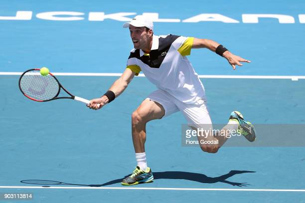 Roberto Bautista Agut of Spain plays a forehand in his second round match against Steve Johnson of USA during day three of the ASB Men's Classic at...