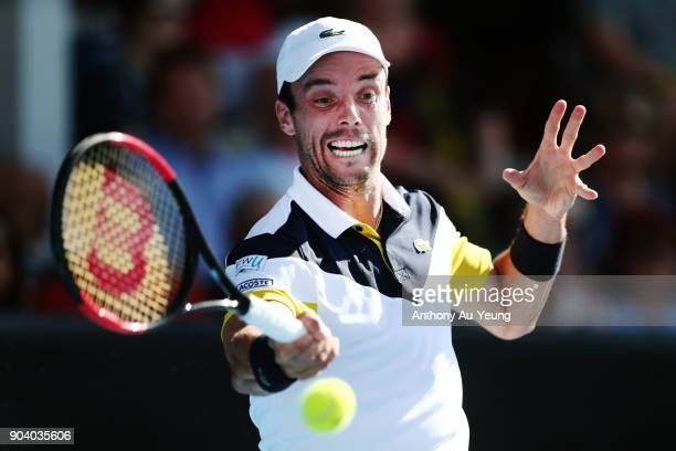Roberto Bautista Agut of Spain plays a forehand in his semi final match against Robin Haase of the Netherlands during day five of the 2018 ASB Men's...