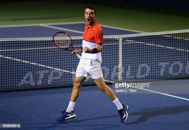 Roberto Bautista Agut of Spain reacts after defeating Taylor Fritz during their quarterfinals match of the WinstonSalem Open at Wake Forest...