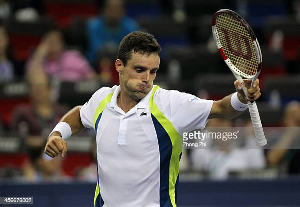 Roberto Bautista Agut of Spain reacts after winning his match against Alexandr Dogopolov of Ukraine during the day one of the Shanghai Rolex Masters...