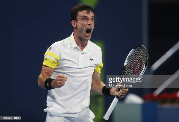 Roberto Bautista Agut of Spain reacts to winning a point during the Semi-final match between Roberto Bautista Agut and Andrey Rublev on Day Five of...