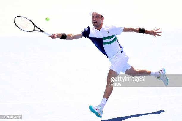 Roberto Bautista Agut of Spain returns a shot during his Men's Singles third round match against Vasek Pospisil of Canada on Day Six of the 2020 US...