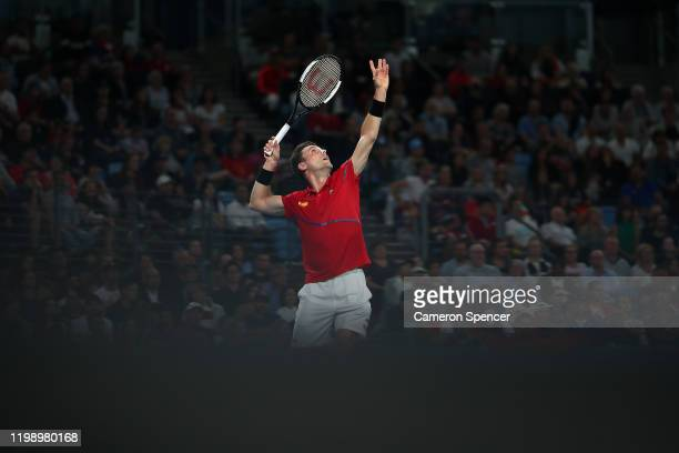 Roberto Bautista Agut of Spain serves during his final singles match against Dusan Lajovic of Serbia on day 10 of the ATP Cup at Ken Rosewall Arena...