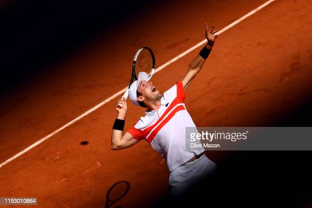 Roberto Bautista Agut of Spain serves during his mens singles third round match against Fabio Fognini of Italy during Day seven of the 2019 French...