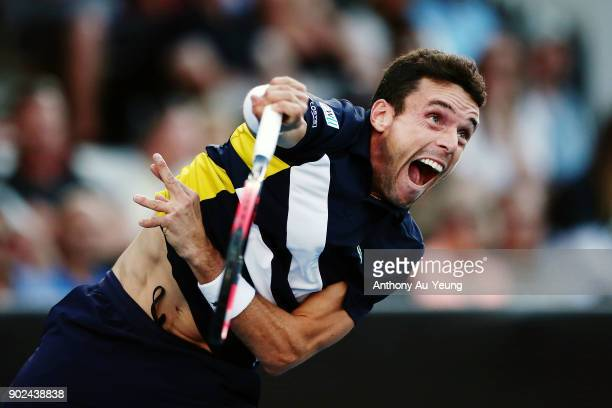 Roberto Bautista Agut of Spain serves in his first round match against Michael Venus of New Zealand during day one of the ASB Men's Classic at ASB...