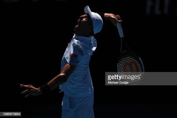 Roberto Bautista Agut of Spain serves in his quarter final match against Stefanos Tsitsipas of Greece during day nine of the 2019 Australian Open at...