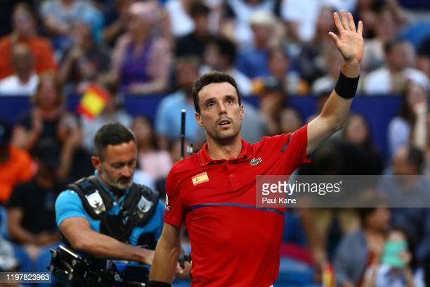 Roberto Bautista Agut of Team Spain celebrates winning his singles match against Franco Roncadelli of Team Uruguay during day four of the 2020 ATP...