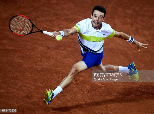 Roberto Bautista of Spain in action at his match against JanLennard Struff of Germany during the Day 3 of the Barcelona Open Banc Sabadell at the...