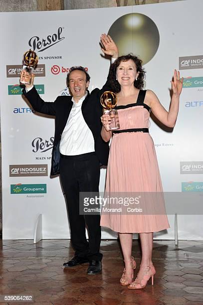 Roberto Benigni and Nicoletta Braschi attend the Globi D'Oro 2016 Awards Ceremony on June 9, 2016 in Rome, Italy.