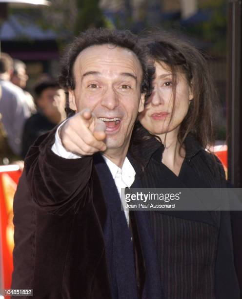 Roberto Benigni and Nicoletta Braschi during Pinocchio Los Angeles Premiere at Pacific's The Grove in Los Angeles California United States