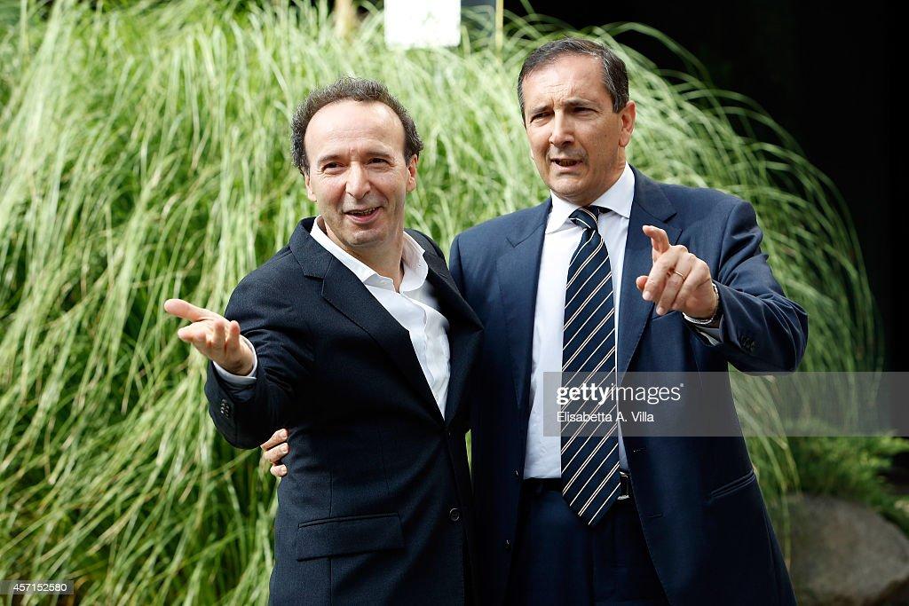 Roberto Benigni (L) and RAI Ceo Luigi Gubitosi attend a photocall at RAI Viale Mazzini on October 13, 2014 in Rome, Italy.