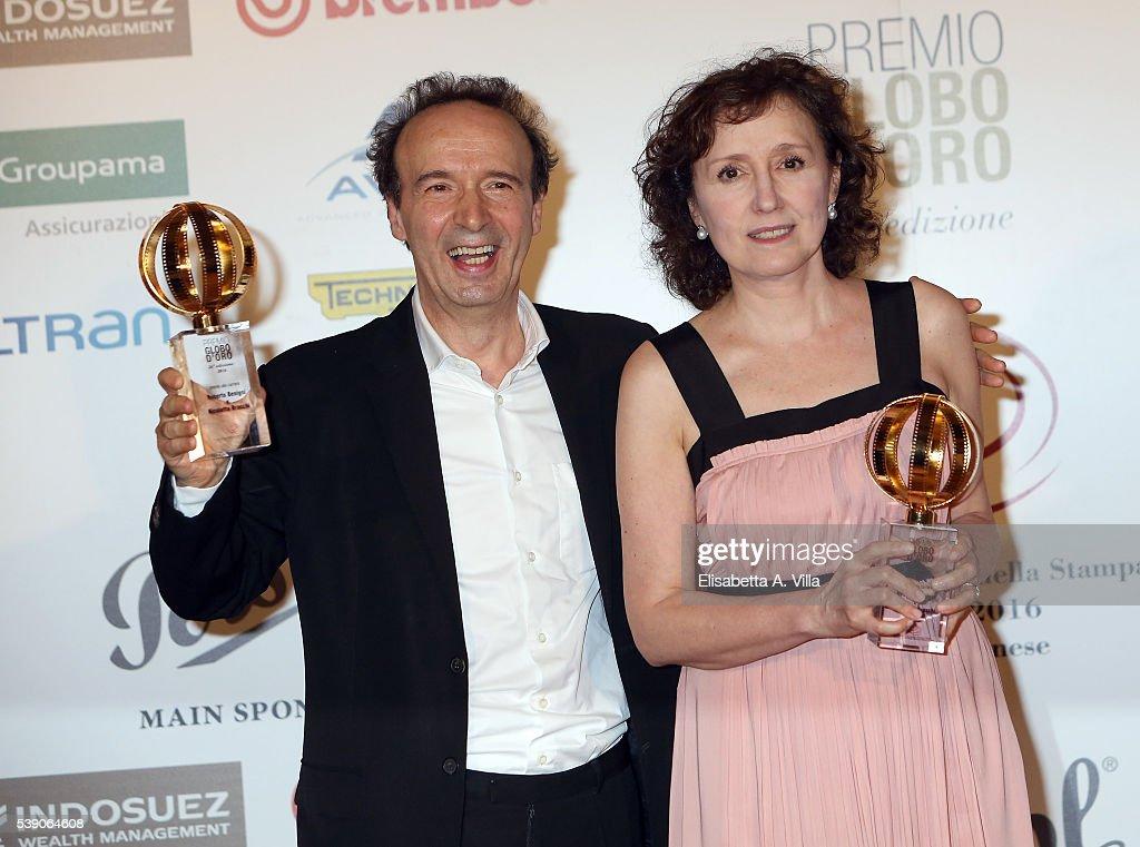 Roberto Benigni and wife Nicoletta Braschi attend Globi D'Oro 2016 Awards Ceremony at French Embassy Palazzo Farnese on June 9, 2016 in Rome, Italy.