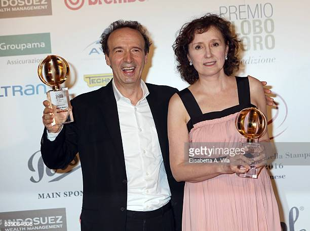 Roberto Benigni and wife Nicoletta Braschi attend Globi D'Oro 2016 Awards Ceremony at French Embassy Palazzo Farnese on June 9 2016 in Rome Italy