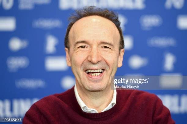 Roberto Benigni speaks at the Pinocchio press conference during the 70th Berlinale International Film Festival Berlin at Grand Hyatt Hotel on...