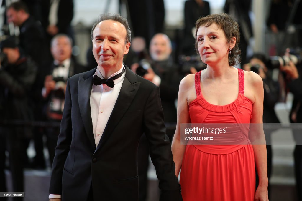 Roberto Benigni with his wife Nicoletta Braschi attend the screening of 'Dogman' during the 71st annual Cannes Film Festival at Palais des Festivals on May 16, 2018 in Cannes, France.