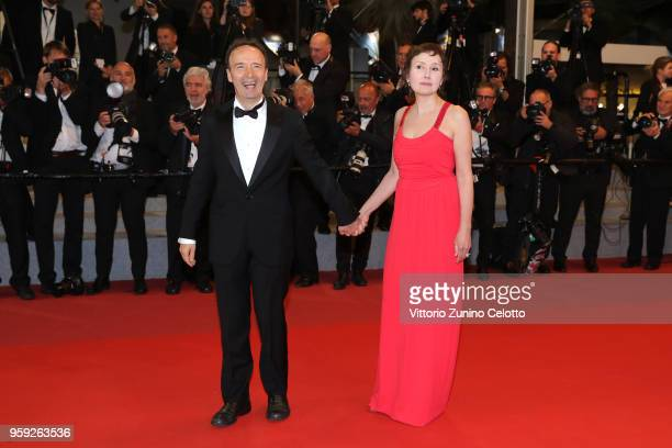 Roberto Benigni with his wife Nicoletta Braschi attends the screening of Dogman during the 71st annual Cannes Film Festival at Palais des Festivals...
