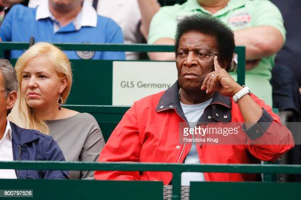 Roberto Blanco and his girldfriend Luzandra Strassburg attend the Gerry Weber Open 2017 at Gerry Weber Stadium on June 25 2017 in Halle Germany