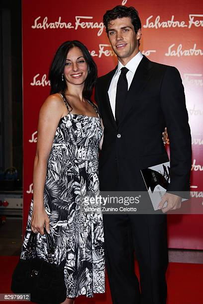 Roberto Bolle and Beatrice Carbone attends 'Salvatore Ferragamo Evolving Legend' exhibition opening during Milan Fashion Week Spring/Summer 2009 on...