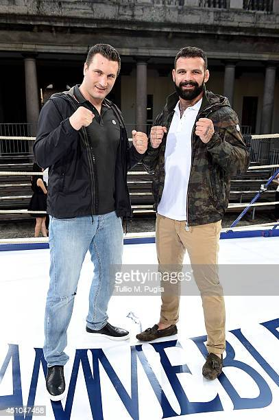 Roberto Cammarelle and Alessio Sakara attend the Moncler Gamme Bleu show during Milan Menswear Fashion Week Spring Summer 2015 on June 22 2014 in...