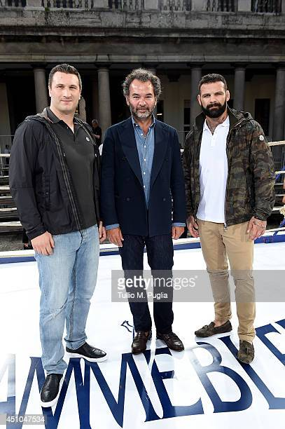 Roberto Cammarelle Remo Ruffini and Alessio Sakara attend the Moncler Gamme Bleu show during Milan Menswear Fashion Week Spring Summer 2015 on June...