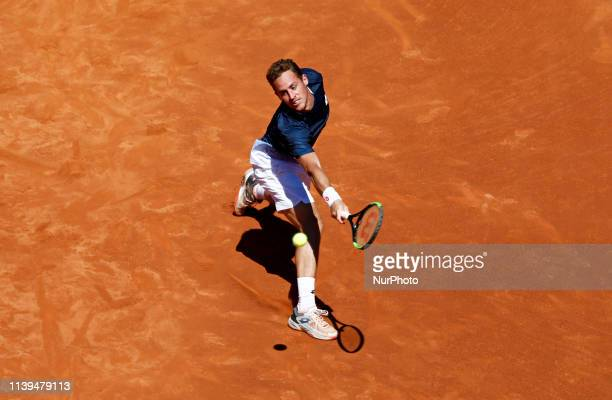 Roberto Carballes Baena during the match against Kei Nishikori corresponding to the 1/4 fina of the Barcelona Open Banc Sabadell tournament on 26th...