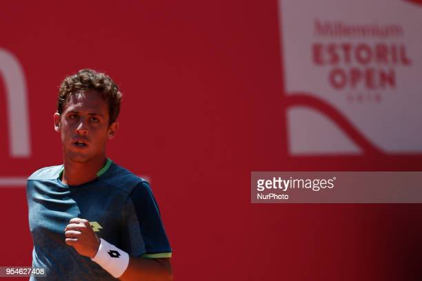 Roberto Carballes Baena from Spain celebrates winning a point during his Millennium Estoril Open ATP Singles tennis match with Stefanos Tsitsipas...