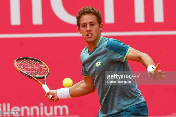 Roberto Carballes Baena from Spain in action during the match between Roberto Carballes Baena from Spain and Cameron Norrie from Great Britain for...