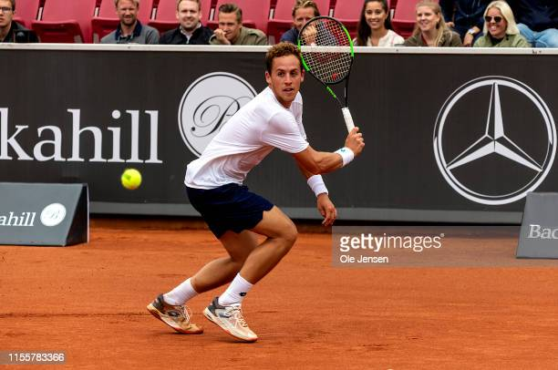 Roberto Carballes Baena of Spain competes in the FTA singles tournament against Jaume Munar of Spain at the 2019 Swedish Open FTA on July 15 2019 in...