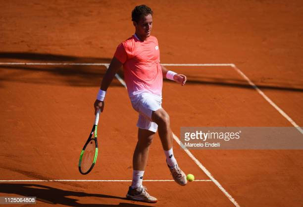 Roberto Carballes Baena of Spain kicks the ballagainst Marco Cecchinato of Italy during the Argentina Open ATP 250 2019 at Buenos Aires Lawn Tennis...