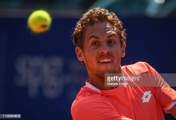 Roberto Carballes Baena of Spain look at the ballagainst Marco Cecchinato of Italy during the Argentina Open ATP 250 2019 at Buenos Aires Lawn Tennis...