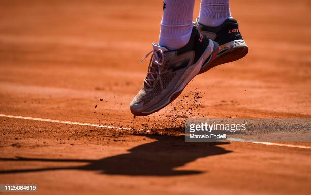 Roberto Carballes Baena of Spain serves against Marco Cecchinato of Italy during the Argentina Open ATP 250 2019 at Buenos Aires Lawn Tennis Club on...