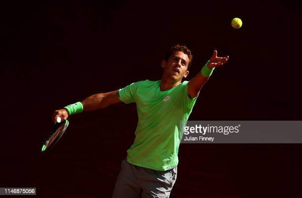 Roberto Carballes Baena of Spain serves to Ugo Humbert of France during day one of the Mutua Madrid Open at La Caja Magica on May 04 2019 in Madrid...