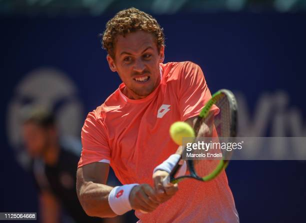 Roberto Carballes Baena of Spain takes a backhand shot against Marco Cecchinato of Italy during the Argentina Open ATP 250 2019 at Buenos Aires Lawn...