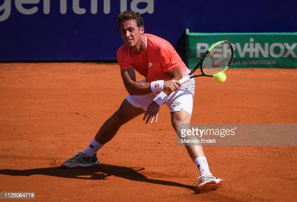 Roberto Carballes Baena of Spain takes a forehand shot against Marco Cecchinato of Italy during the Argentina Open ATP 250 2019 at Buenos Aires Lawn...