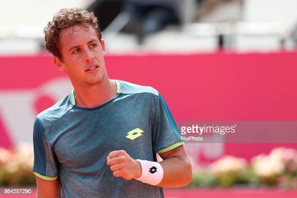 Roberto Carballes Baena os Spain celebrates a point over Cameron Norrie of Great Britan during the Millennium Estoril Open ATP 250 tennis tournament...