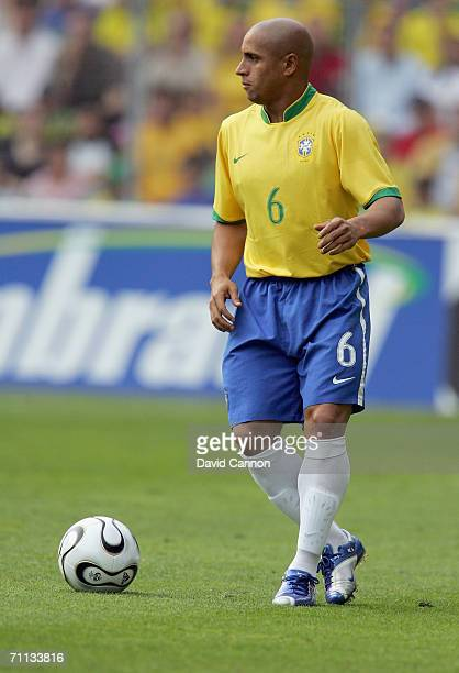 Roberto Carlos of Brazil during the international friendly match between Brazil and New Zealand at the Stadium de Geneva on June 4, 2006 in Geneva ,...
