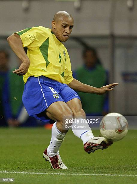 Roberto Carlos of Brazil in action during the Brazil v Turkey World Cup Semifinal Stage match played at the Saitama Stadium Saitama in Japan on June...