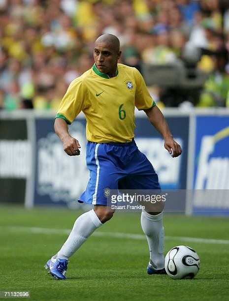 Roberto Carlos of Brazil in action during the international friendly match between Brazil and New Zealand at the Stadium de Geneva on June 4, 2006 in...