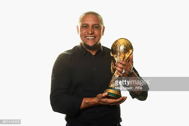 Roberto Carlos of Brazil poses with the FIFA World Cup trophy prior to The Best FIFA Football Awards at Kameha Zurich Hotel on January 9 2017 in...
