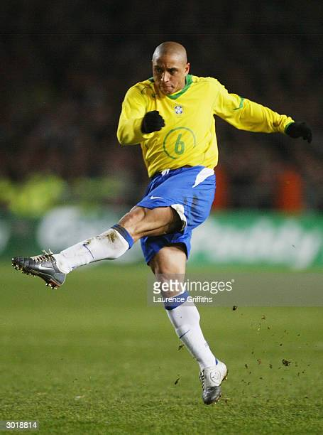 Roberto Carlos of Brazil powers home a shot at goal during the International Friendly match between Republic of Ireland and Brazil held on February...