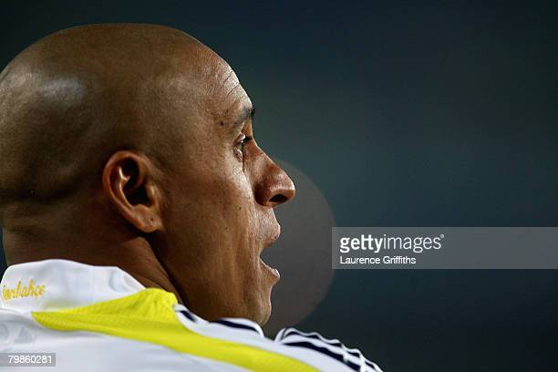 Roberto Carlos of Fenerbahce during the UEFA Champions League First Knock Out Round First Leg match between Fenerbahce SK and Sevilla at the Sukru...