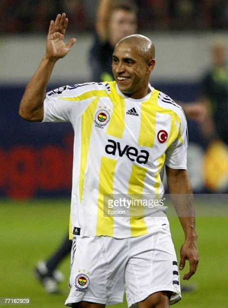 Roberto Carlos of Fenerbahce Istanbul reacts during the Champions League group G match between CSKA and Fenerbahce at Lokomotiv stadium on October...