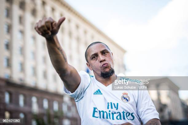 Roberto Carlos of Real Madrid CF celebrates after the Ultimate Champions Tournament at the Champions Festival ahead of the UEFA Champions League...
