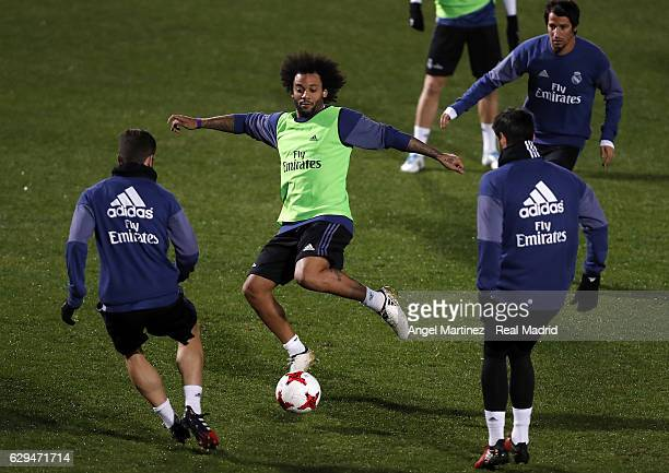 Roberto Carlos of Real Madrid in action during a training session at Mitsuzawa Football Stadium on December 13 2016 in Yokohama Japan
