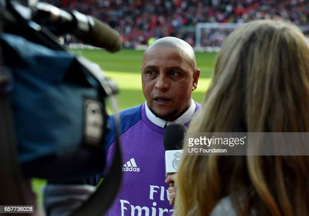 Roberto Carlos of Real Madrid Legends during an interview at the LFC Foundation Charity Match between Liverpool Legends and Real Madrid Legends at...