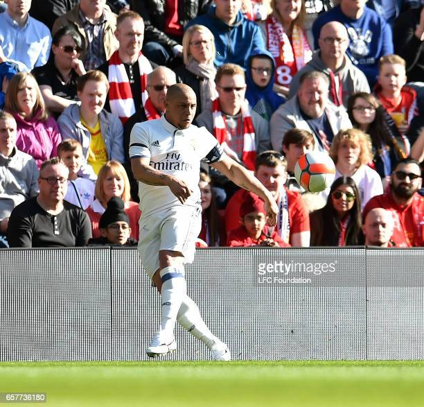 Roberto Carlos of Real Madrid Legends during the LFC Foundation Charity Match between Liverpool Legends and Real Madrid Legends at Anfield on March...