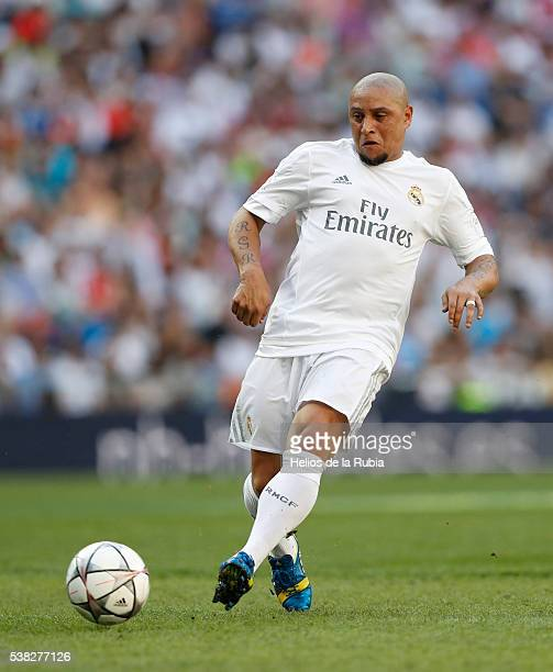 Roberto Carlos of Real Madrid Legends in action during the Corazon Classic charity match between Real Madrid Legends and Ajax Legends at Estadio...